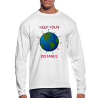 """Keep Your Distance"" Men's Long Sleeve T-Shirt - white"