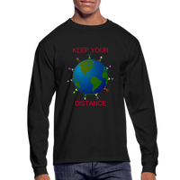 """Keep Your Distance"" Men's Long Sleeve T-Shirt - black"