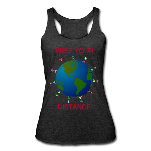 """Keep Your Distance"" Women's Racerback Tank - heather black"