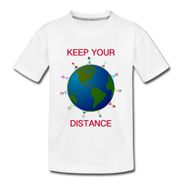 """Keep Your Distance"" Kids' Premium T-Shirt - white"