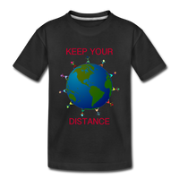 """Keep Your Distance"" Kids' Premium T-Shirt - black"