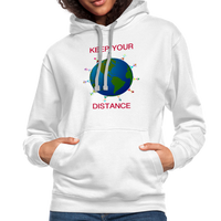 """Keep your Distance"" Women's Contrast Hoodie - white/gray"