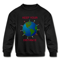 """Keep Your Distance"" Kids' Crewneck Sweatshirt - black"