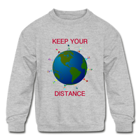 """Keep Your Distance"" Kids' Crewneck Sweatshirt - heather gray"