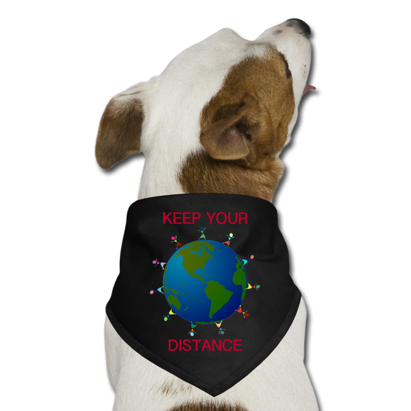 """Keep Your Distance"" Dog Bandana - black"