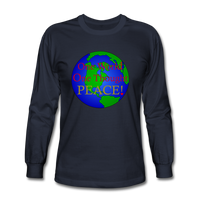 """One World"" Men's Long Sleeve T-Shirt - navy"