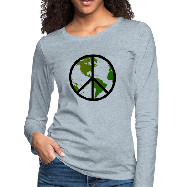 """World Peace"" Women's Long Sleeve Premium Shirt - heather ice blue"