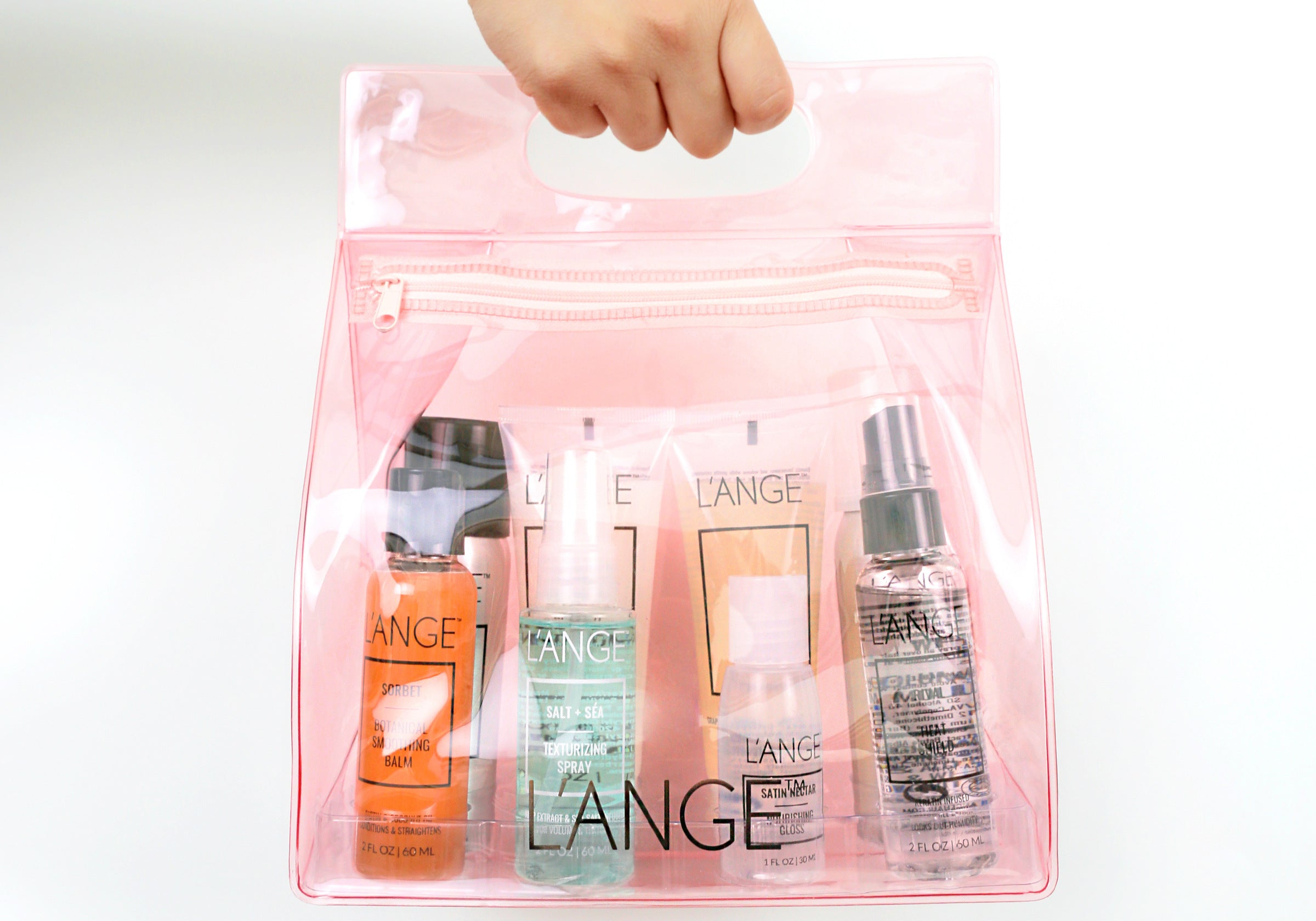 L'ange Travel Bundle and Clear Travel Bag