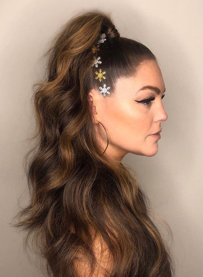 holiday half up hairstyle