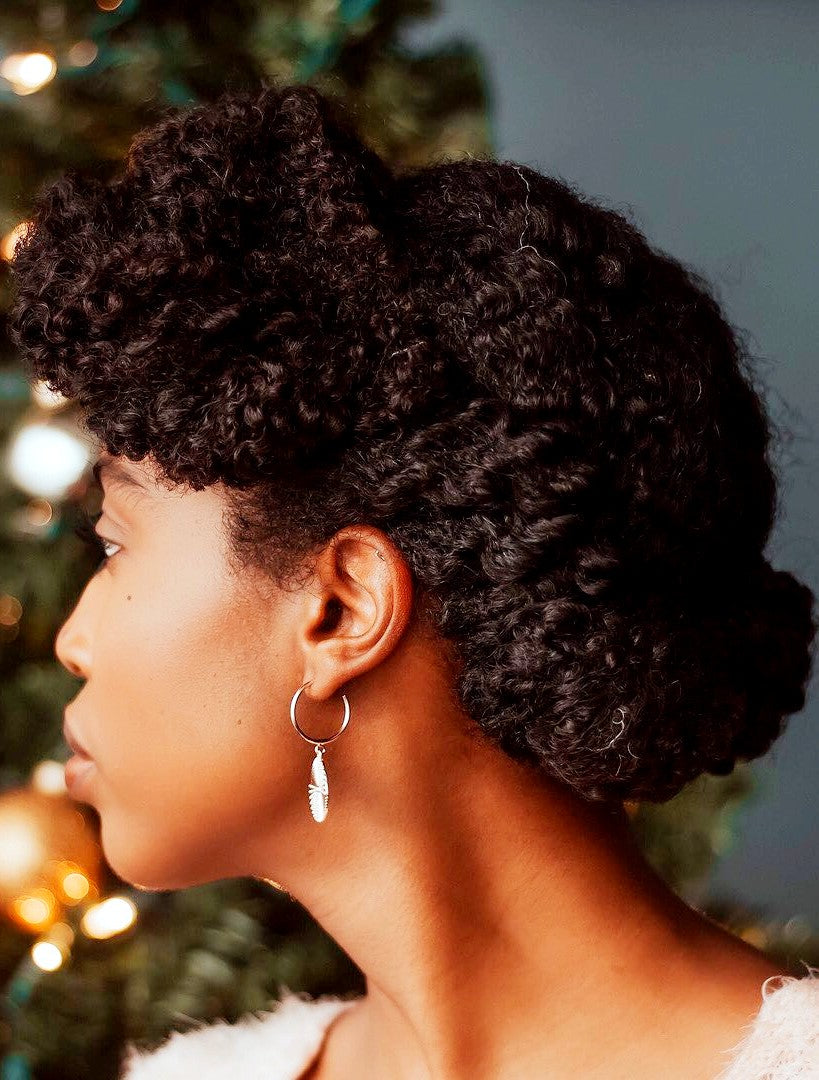 holiday hair curly updo chignon