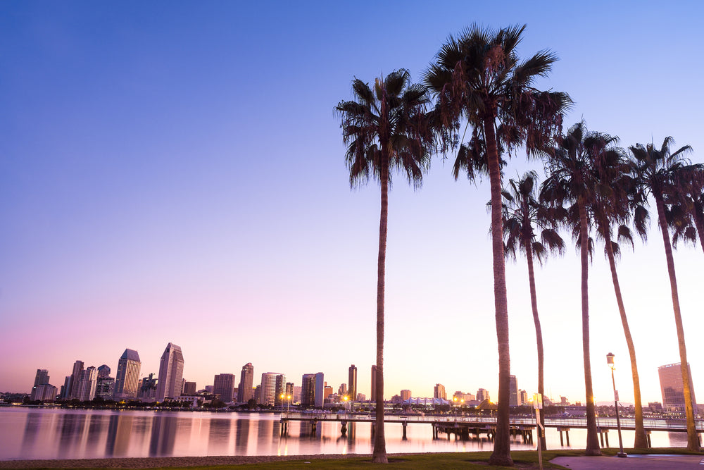 San Diego skyline on a sunset