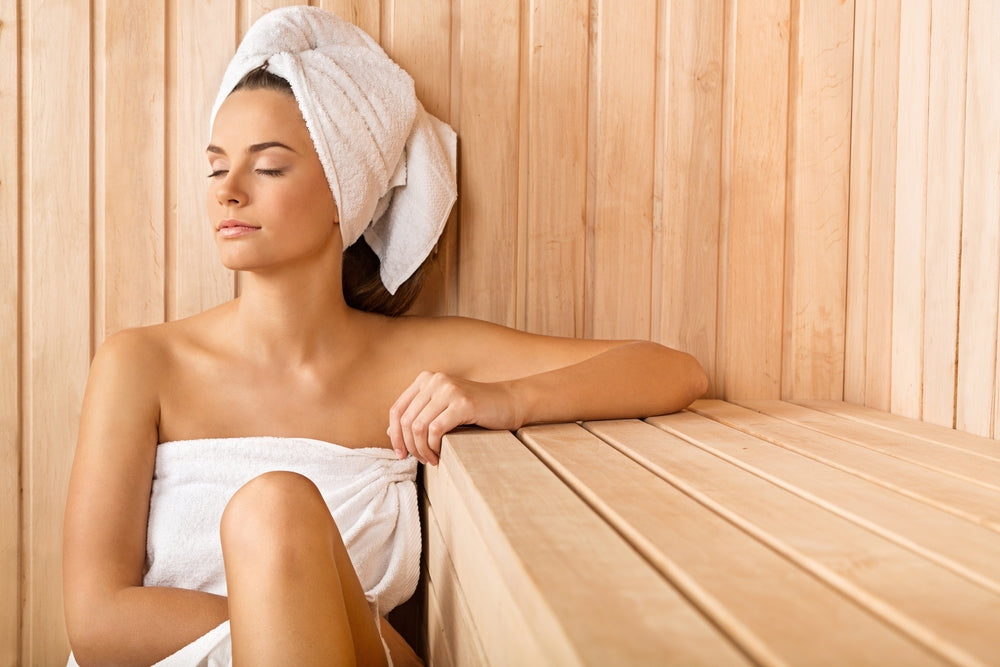 Woman relaxing at a sauna