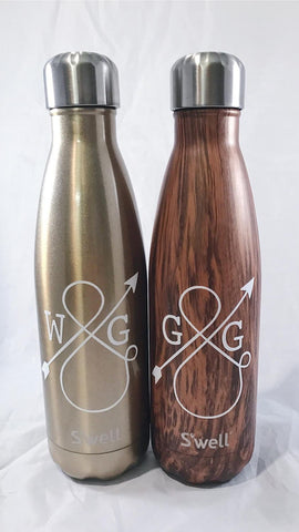 Personalized Love Ampersand S'well Bottle - Teakwood - Wedding, Christmas, Anniversary, Valentine's Day Swell Bottle