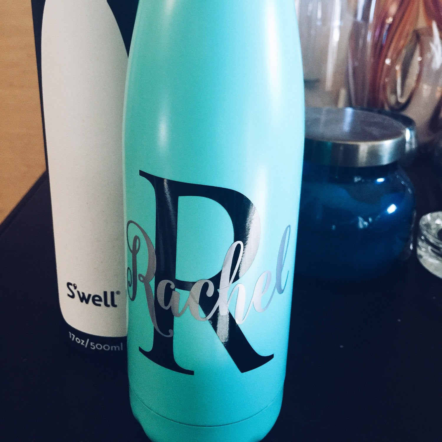 Personalized Turquoise S'well Bottle - Initial and Name - Bridesmaids, Yoga, Teacher, Sorority Swell Bottle