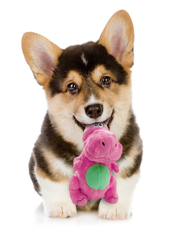 goDog Dinos T-Rex Tough Plush Dog Toy with Chew Guard Technology, Pink, Small