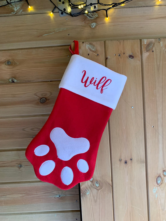 Personalised paw stocking