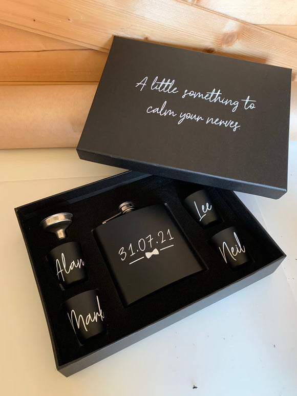 Personalised Hip Flask, shot glass gift set.