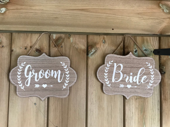 SALE! Set of 2 Bride & Groom sign