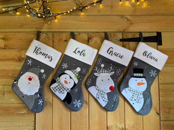 Personalised stocking - dark grey