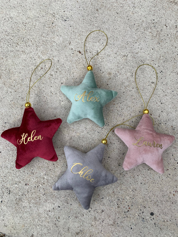 Personalised Velvet Star Decoration