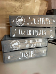 Personalised Rustic Grey Easter Crate / Box