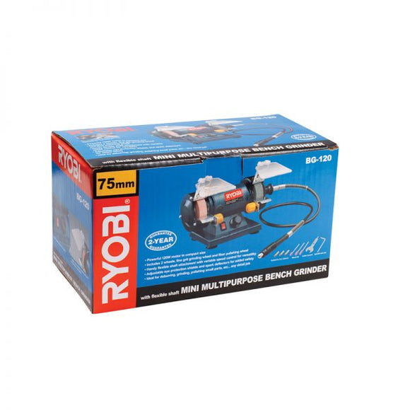 RYOBI Bench Grinder 120W, Multi Purpose with Flexible Shaft BG-120