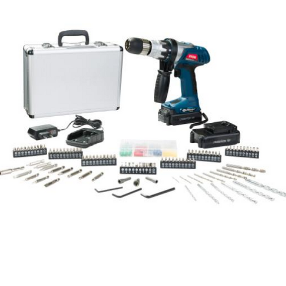18V Lithium-Ion Driver Drill Kit W/ 2Batt, 158Pc Acc, Alu. Case