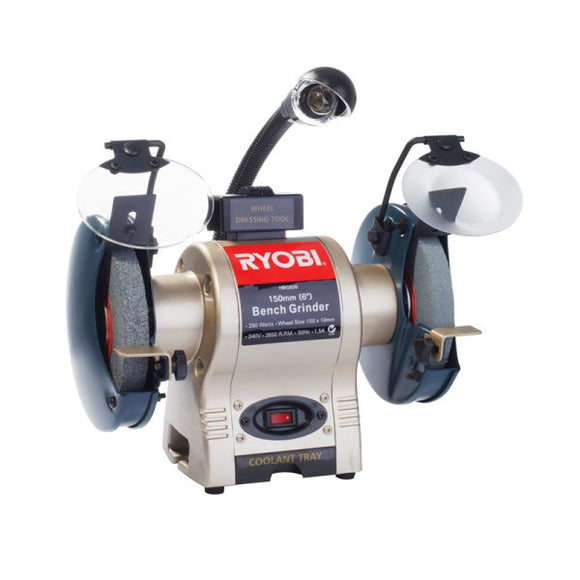 RYOBI BENCH GRINDER 150MM 250W WITH LIGHT & WHEEL DRESSER