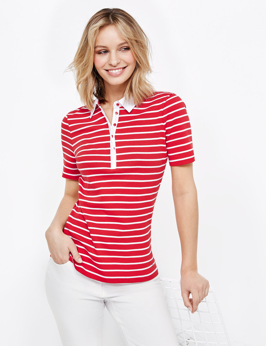 Red Striped Polo - ELIZABETH SCHINDLER