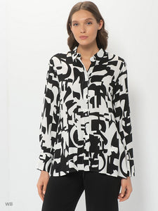 Blouse with Contrasting Print