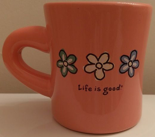 "Life is Good Peach Daisy Coffee Mug ""Do what you LIKE what you do"" ~ Collectible"