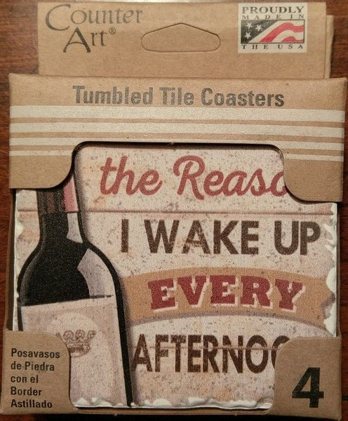 Counter Art Tumbled Tile Wine Wake Up Coasters with Natural Cork Back