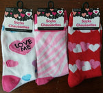 Hearts Love Stripes Crew Socks Red Pink White Hearts Womens Size 9-11 ~ Lot of 3