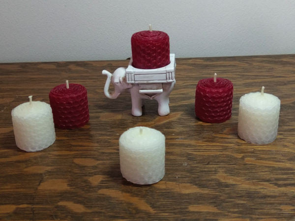 Lucky Elephant Votive Holder w/ 3 Red and 3 White 100% Natural Beeswax Votives