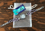 Amethyst / Cultured Pearl Beaded Bracelet Quartz Watch W/ Mother of Pearl Face