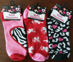 Hearts Cupids Ankle Socks Red Pink Black Socks Womens Size 9-11 ~ NEW Lot of 3