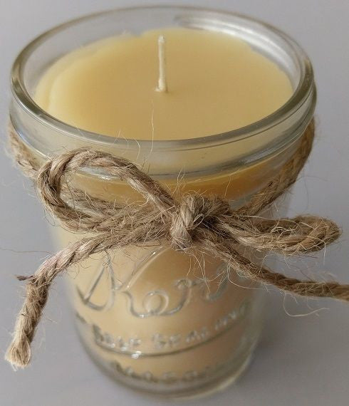 Handmade 100% Natural Beeswax Candle in 8 oz Glass Kerr Jar NEW Made in Utah USA