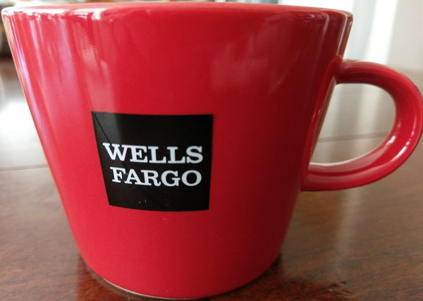 WELLS FARGO Red with White Lettering Coffee Mug Tea Cup