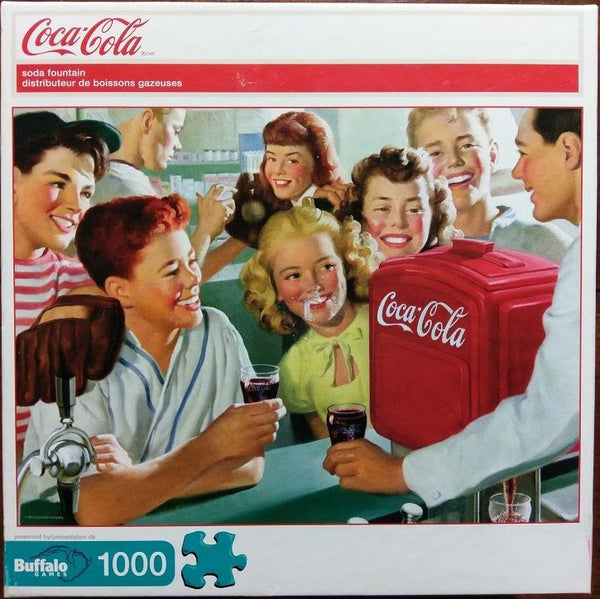 Coca Cola at the Soda Fountain 1000 Piece Puzzle with Fold Out Poster Nostalgia