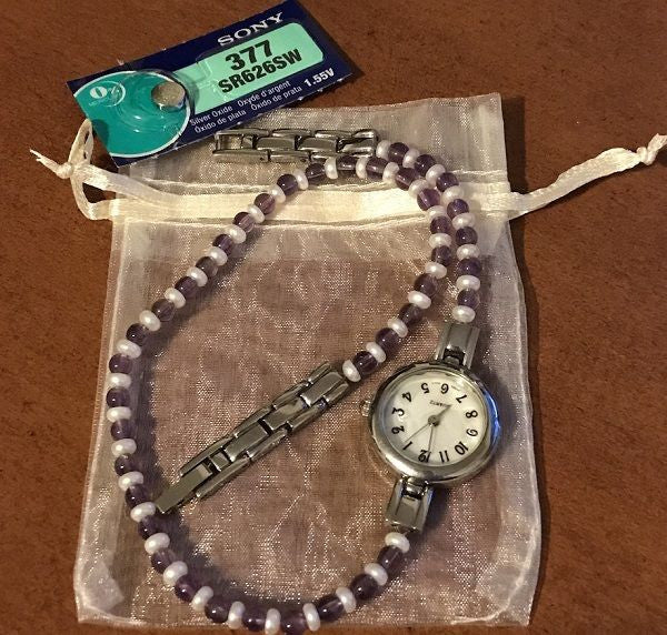 Amethyst and Cultured Pearl Quartz Watch Bracelet w/ New Battery Mother of Pearl