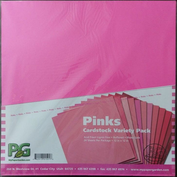 "Cardstock Pinks Variety Pack Paper Garden 12"" x 12"" Inch ~ 24 Pack Pink Shades"