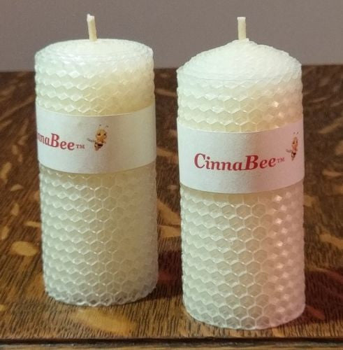 2  Iridescent White Meditation Candles 100% Natural Beeswax 4 inches tall Pillar