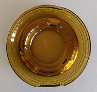 "Amber Gold Glass Ashtray Ash Tray Vintage ~ Basket Weave Design 5"" Inch Diameter"