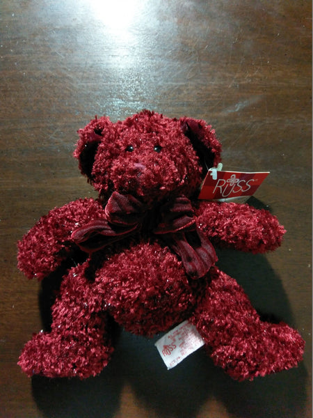 "RUSS BERRIE 9"" Inch Plush Red Teddy Bear Named Rosetta with TAGs No. 4916"
