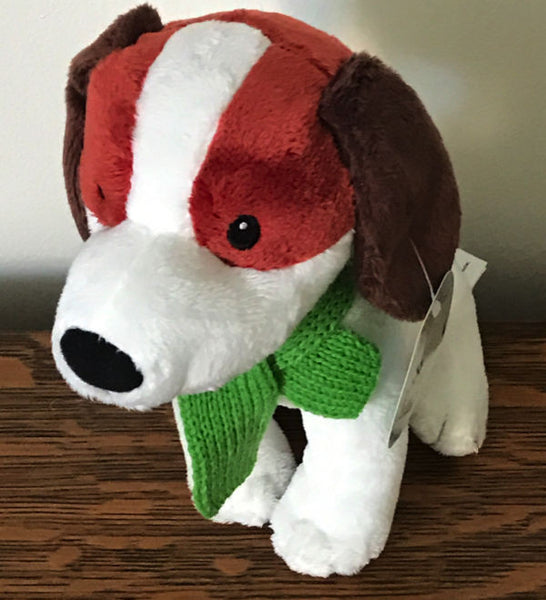 Starbucks Coffee Company White Holiday Puppy Dog Brown Green Scarf Plush  2011