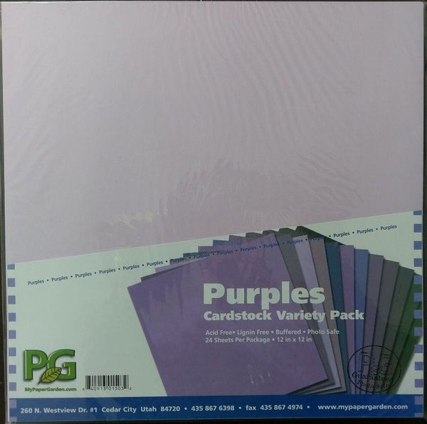 "Cardstock Purples Variety by Pack Paper Garden 12"" x 12"" Inch ~ 24 Pack Purples"