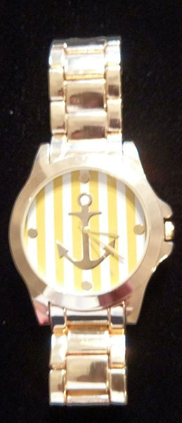 Geneva No:12833 Stripe Yellow Gold Anchor Wristwatch Water Resistant Watch