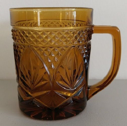 Amber Glass Coffee Mug Tea Cup Vintage ~ Marked France on bottom of Molded Cup