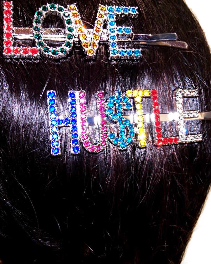 Love & Hu$tle Bobby Pin 2 pc Set -Silver {view}