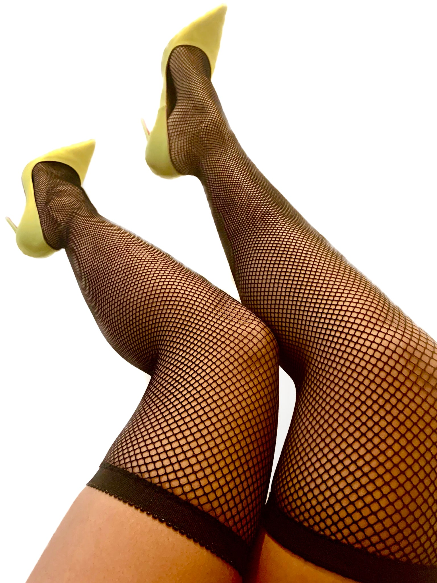 Lana Fishnet Thigh High Stockings {view}